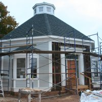 anderson -octagon house - front with staging